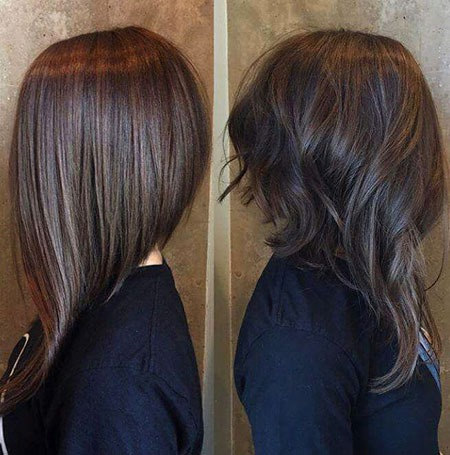 Long Bob Short Highlights Brünette Brown Balayage Zurück