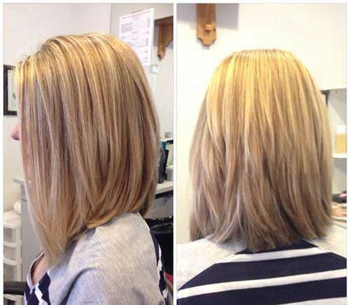 Long Layered Bob Frisuren zurückblicken
