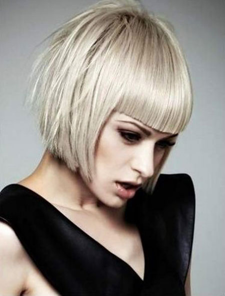 Bob Short Platinum Bangs Länge Chin Blunt Blonde
