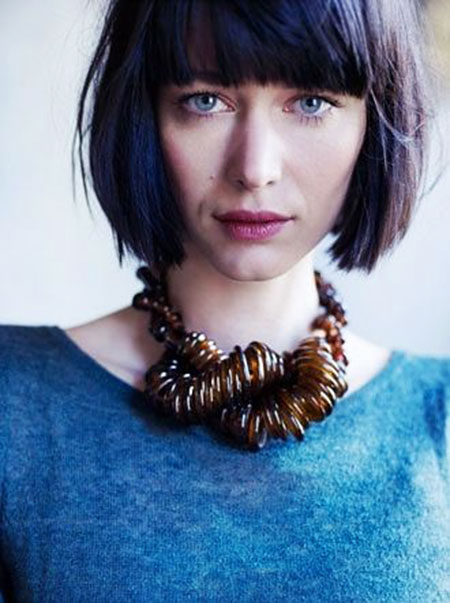Bangs Bob kurze Zooey Art Textur Sleek Locks Layered