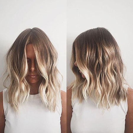 Blonde Balayage Ombre Bleach Schulter Medium