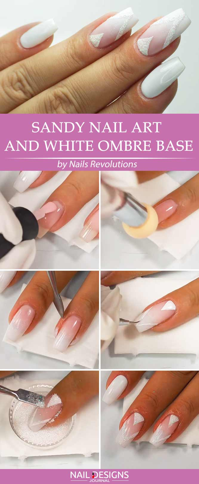 Sandy Nail Art und White Ombre Base
