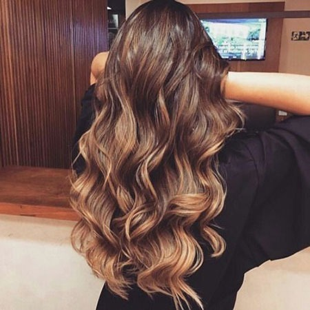 Ombre Braun Balayage Low Long Karamell Welliges Licht