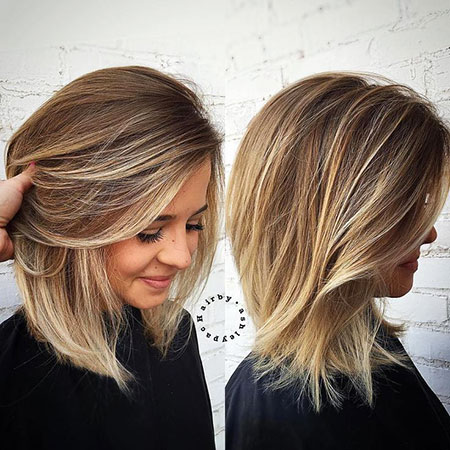 Mittlere Länge Dicker Bob Balayage Women Welly Should Mid Einfache Blondine