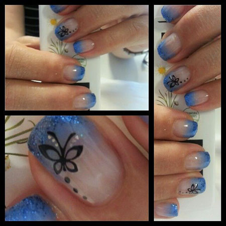 Blaue Nägel Schmetterlinge, Nail Art Butterfly Nails