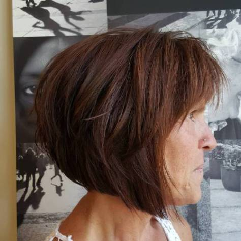 Brown Layered Angled Bob