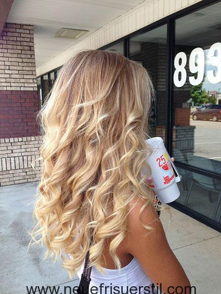 Blonde Ombre Balayage Wellig Curly Curls Brown