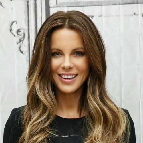kate beckinsale braunes Haar mit blonden Highlights