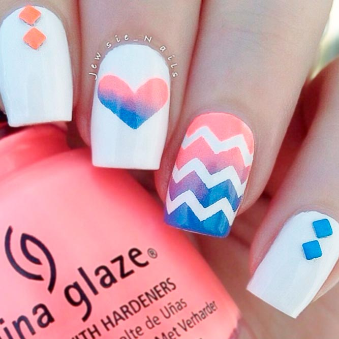 Bright Ombre Chevron Nails Bild 2