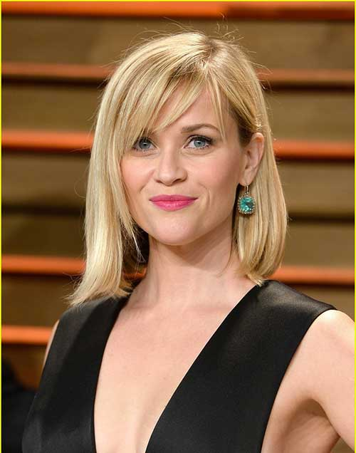 Reese Witherspoon Medium dünnes Haar mit Pony