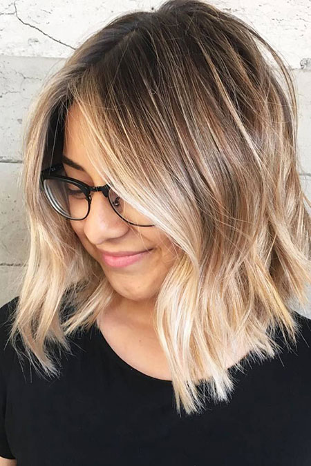 Blonde Schulterlänge Cute Balayage Pretty Middle
