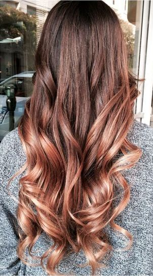coole Rose Gold Balayage Ombre Haare