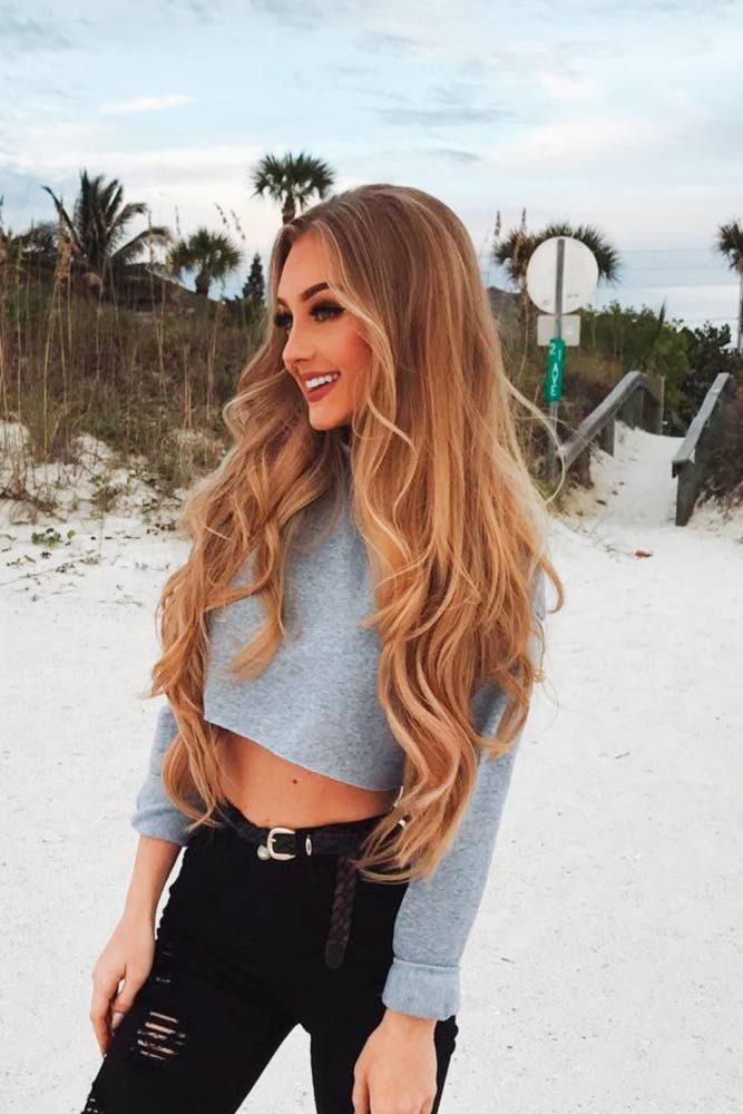 Mittlere Parted Long Wavy Brown Hair
