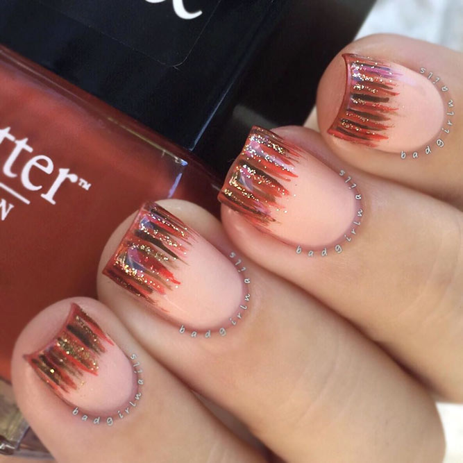 Peach Color Waterfall Nails