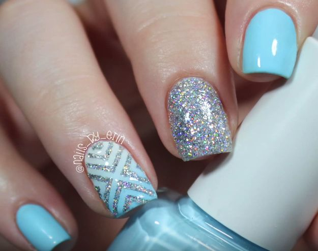 [How-To]: Blaues und Silbernes Glitter-Nageldesign