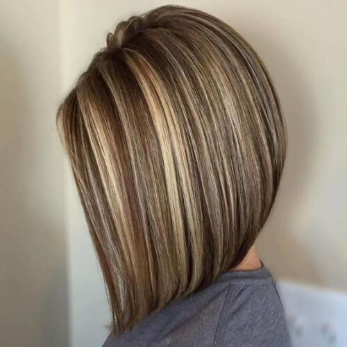 Braunes Haar mit blonden Highlights lang