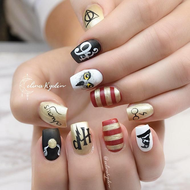 Das ganze Harry Potter Universum in deiner Maniküre #stripednails #squareNails