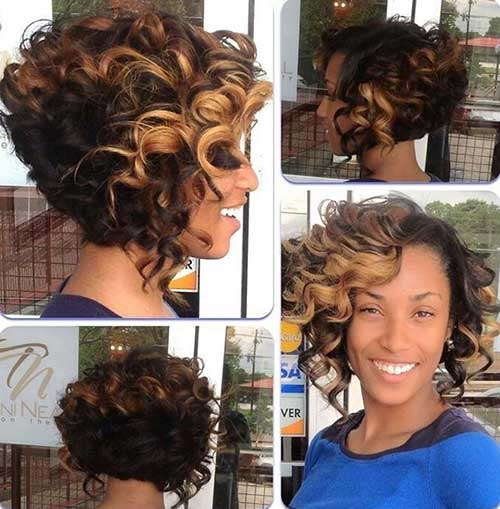 Black Curly Thick Bob Haar