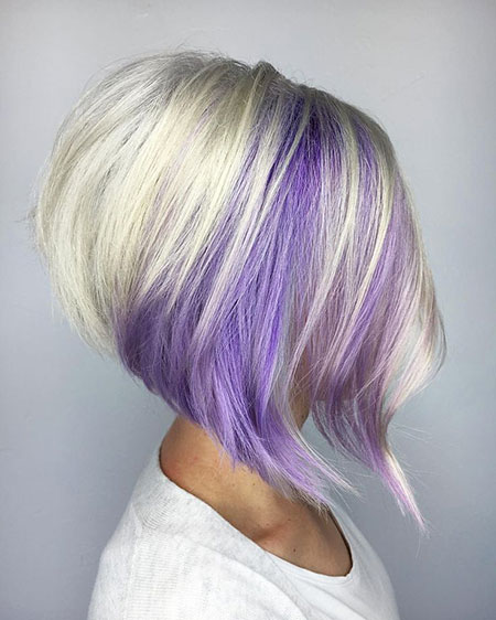 Bob Purple Blonde Gestapelte Layered Highlights Fun Bobs