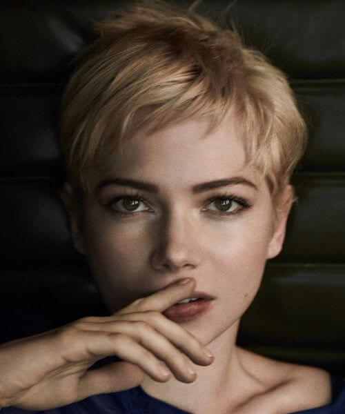 Michelle Williams lange Pixie Cutv
