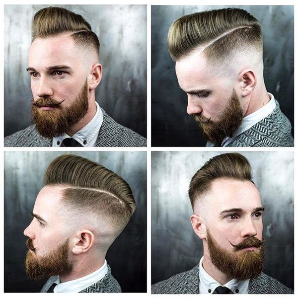 Skin Fade Pomp mit Razor Side Part