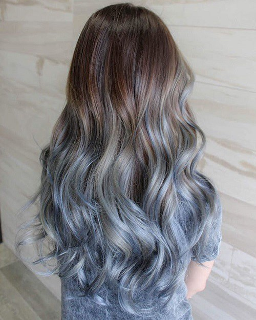 Oil Slick Blau Ombre
