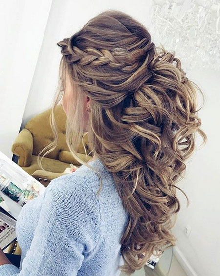 Wedding Updo Up Modern Lange Half Geflochtene